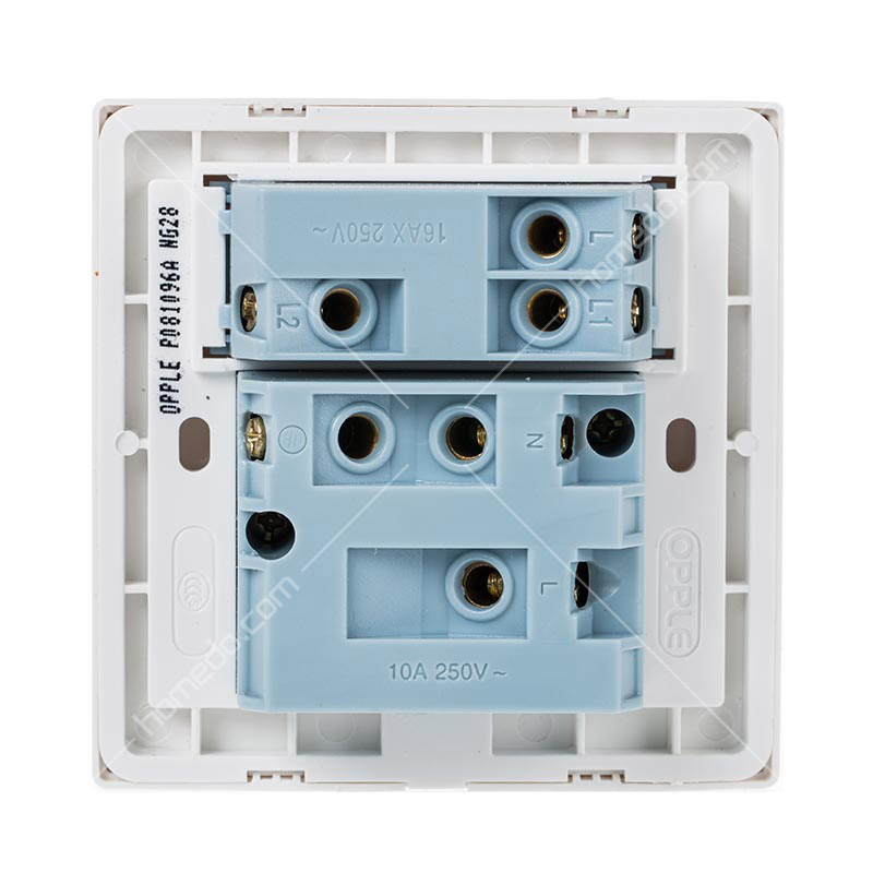 opple欧普照明p08系列开关插座10a五孔带一开双控雅白色图片